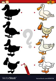 Shadows game with duck Royalty Free Vector Image Free Vector Images, Vector Free, Duck Crafts, Kids Learning Activities, Matching Games, Farm Animals, Worksheets, Preschool, Doodles