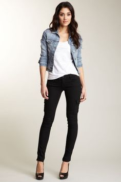 Skinny black jeans and denim jacket-Classic. You will see me in this Fit, all Spring... lol