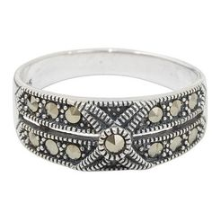 Marcasite band ring, 'Sweet Melody' - Artisan Crafted Marcasite and Sterling Silver Band Ring (image 2a)