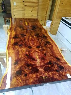 Epoxy Resin Cedar Live Edge Table.