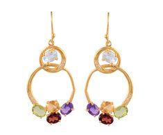 Double loop gemstone earrings