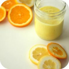 Easy Homemade Citrus Scrub...1/2 cup olive oil  1/2 cup sea salt  1-2 slices of lemon  1-2 slices of orange