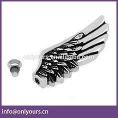 Stainless Steel Cremation Jewelry Cinerary Casket Pendant Stainless Steel Angel Wing Cross blacken