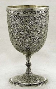 Ornate solid silver wine goblet from Kashmir, India - c1880
