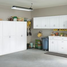 Do you wish your garage were this organized? (Tip: Shop Dimensions storage cabinets so it can be.)   #ClosetMaid #Garage #GarageOrganization #GarageMakeover White Storage Cabinets, Garage Storage Cabinets, Garage Organization, Kitchen Cabinets, Garage Makeover, Drawer Fronts, Panel Doors, Closets, Classic Style