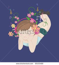 Girl relaxing and listening music, with some floral elements/Girl listening music - stock vector