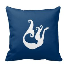 mermaid White on blue pillow