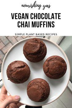 Chocolate Chai Muffins | Nourishing Yas - Simple Plant based Recipes  #vegan #veganrecipes #vegandesserts #veganchocolate #vegancake #veganmuffins #dairyfreechocolate #chocolatechai #chaimuffins #vegancupcakes