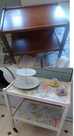 old tea trolley project.  Used Laura Ashley summer palace wallpaper i had leftover.  Need a bit more practise to be perfect but hey ho practise makes perfect. more furniture projects to follow i hope!