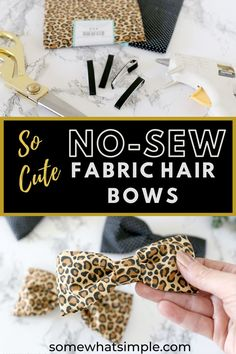 A fabric hair bow is a simple accessory that can be made in under 5 minutes! This no-sew bow is going to look darling in your little girl's hair! Craft Projects For Adults, Crafts For Kids, Wire Crafts, Easy Crafts, No Sew Bow, Chore Chart Kids, Fabric Hair Bows, Hair Bow Tutorial, Holiday Crafts