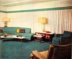 1955 mid century modern living room blue and white #retrohome #retrorenovation #retrofurniture http://www.retrorealtygroup.com