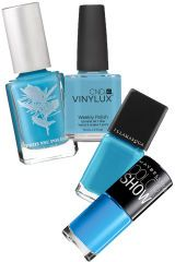 PRITI NYC 5 FREE Nail Polish in Chilean Blue Crocus, $15; pritinyc.com CND Nail Lacquer Vinylux, $5; beyondpolish.com Illamasqua Rubber Finish Nail Varnish in Serenity, $17; sephora.comMaybelline Color Show Nail Polish in Shocking Seas, $3; walmart.com