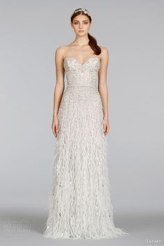 lazaro spring 2014 wedding dress style 3401 strapless beaded gown