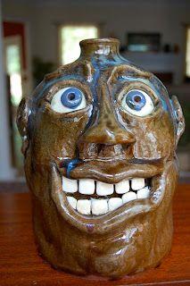 Tim Flinn face jug, Flinn Family Pottery, Athens, GA