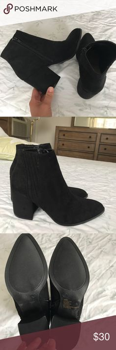New Black Suede Booties Women's size 7.5 Bought from JustFab.com Pointed toe  Black suede Shoes Ankle Boots & Booties