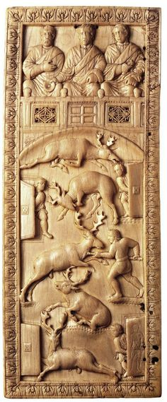 """Diptych Depicting the Venatio, c. 400-450. National Museums, Liverpool. Culture roman. Venatio (Latin: venatio, """"hunting"""", plural venationes) was a form of entertainment in Roman amphitheaters involving the hunting and slaying of wild animals."""