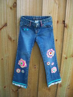 Upcycled  recycled  jean for girls/embellished by Gizabelle4kids, $25.00  Helping the planet by  up-cycling clothes