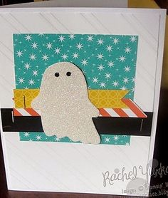 A Not So Spooky Halloween. This friendly ghost card is created using Stampin' Up!'s Fun Fall Framelits and Motley Monsters Designer Series Paper from the Holiday Catalog. Love the sparkle. Visit my blog for more details: www.rachelsstampingplace.blogspot.com
