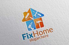 home logo Real estate Logo, Fix Home Logo by denayunebgt on creativemarket Business Brochure, Business Card Logo, Handyman Logo, Logos Ideas, Logo Real, Paint Companies, Construction Logo, Real Estate Logo, Professional Logo Design