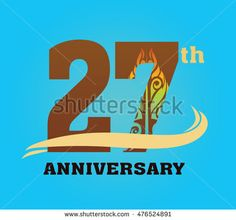 anniversary logo with javanese shadow puppet pattern 27th