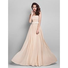 Free Measurements ! Sheath/Column Strapless Floor-length Georgette Bridesmaid Dress (910061) – USD $ 72.99