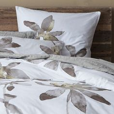 Organic Orchid Duvet Cover + Shams #westelm - I LOVE the bed frame!!  The whole color scheme and rustic really works with the modern bedding design!!  :)