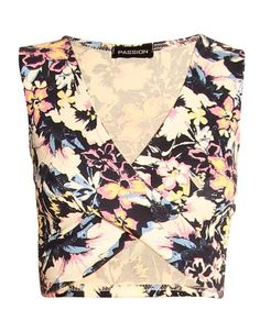 BLUE FLORAL PINT WRAP OVER SLEEVELESS CROP TOP  £ 1.95