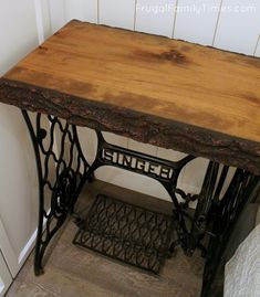 How to Make an Antique Singer Sewing Machine Table (with a Live Edge Top) Antique Treadle Sewing Mac Wood, Old Sewing Machine Table, Live Edge Wood, Singer Table, Old Wood, Sewing Machine Table Diy, Old Wood Table, Old Sewing Machines, Sewing Machine Tables