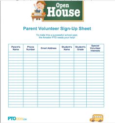 Sign-up sheet for open house from PTO Today.