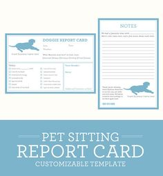 Simple, clean, classic  Dog Pet Sitting Report Card - CUSTOMIZABLE  Specs: >> available in 6 x 4 format >> file only - printing not included