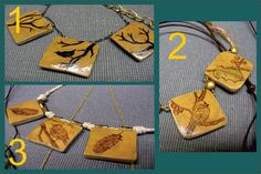 Gourd Pendant Jewelry embellished with little birdies! For sale on Etsy.