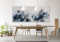 original abstract painting horizontal blue by ElenasArtStudio