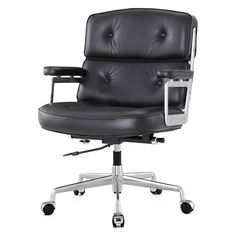 Seal the deal in an office chair that works just as hard as you. Crafted from supple aniline leather and polished aluminum, the M310 commands attention with classic button tufting and a strong shape.
