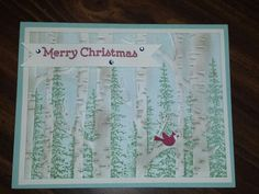 Stamps used:  Stampin' Up! Wonderland, Versatile Christmas and Festival of Trees. Woodland embossing folder and jewels.