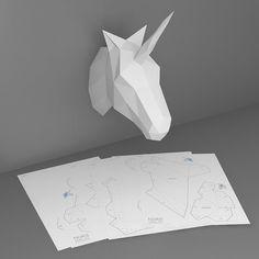 Unicornio modelo de papercraft 3D. Plantilla por NokaPaperArt