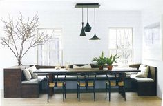 diy kitchen banquette seating with storage | This clean-lined banquette setup seats a large gathering comfortably ...