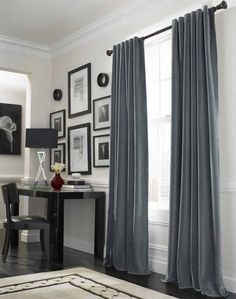 Gray And Beige Curtains Curtain Ideas For Large Windows With Lovely Grey Color And Corner Dark Desk Gray Curtains Beige Walls Curtains Living Room Modern, White Curtains Grey Walls, Blue Living Room, Curtain Designs For Bedroom, Grey Curtains, Curtains For Grey Walls, Living Room Grey, Living Room Windows, Curtains With Blinds