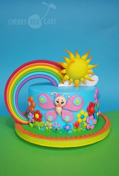 A rainbow cake is fun to look at and eat and a lot easier to make than you might think. Here's a step-by-step guide for how to make a rainbow birthday cake. Fondant Cakes, Cupcake Cakes, Bolo Frozen, Butterfly Cakes, Rainbow Butterfly, 4th Birthday Cakes, Pony Cake, Red Cake, Star Cakes