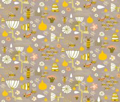What's the buzz fabric by skbird on Spoonflower - custom fabric Cool Fabric, Custom Fabric, Spoonflower, Printing On Fabric, Craft Projects, Bee, Fabrics, March, Colorful
