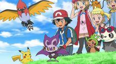 Pikachu, Fletchinder, Noibat, Ash Ketchum, Serena, Dedenne, Bonnie, Chespin, Pancham & Clemont