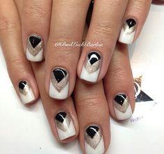 White black glitter chevron nail design