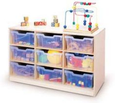 Whitney Brothers Gratnell Clear-Tray Storage Cabinets - 9-Tray Unit - WB0909T | Private School Partner