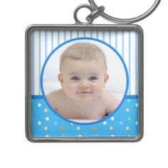 Blue Polkadot New Baby Boy Keychain
