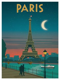 Vintage Paris Moonlight Poster.