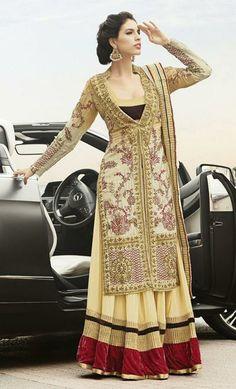 USD 205.66 Cream Silk Zardosi Work Designer Anarkali Salwar Kameez 27464