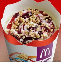 Similar to the Strawberry Shortcake McFlurry, this McFlurry features vanilla ice cream, strawberry syrup, and a sweet and buttery crumble topping.