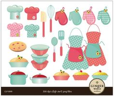 chic cooking mom kitchen diva clip art digital illustration for scrapbooking & card (CLP0099)