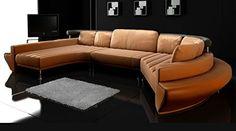 Rundsofa Leder Wohnlandschaft halb rund Sofa Couch U-Form Chaiselongue Ledersofa Ledercouch Designsofa L'AQUILA