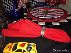 Smashing Plates Tablescapes: Memorial Day Hose Champs are used for napkin rings. Party Themes, Party Ideas, Kodak Film, Champs, Memorial Day, Napkin Rings, Tablescapes, Monster Trucks