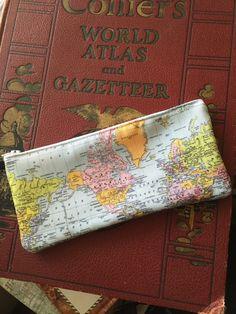 World Map pencil case, makeup bag, travel, wanderlust, back to school, zipper bag